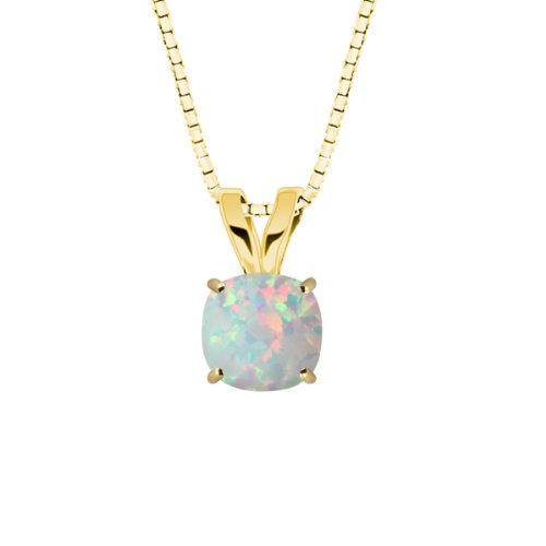 10k Yellow Gold Checkerboard Cushion Created Opal Gemstone Pendant Necklace (8mm .70 ct), 18