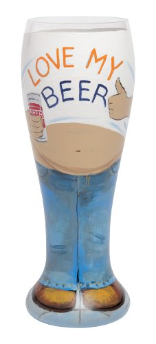 Lolita Hand Painted Pilsner Glass, Beer Belly