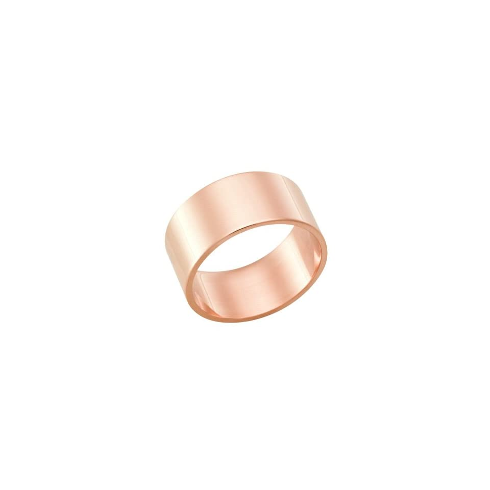 10.0 Millimeters, Flat High Polished 14Kt Rose Gold Heavy Wedding Band Ring on Sale FSTF10R, Finger Size 12.5