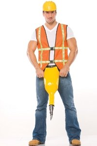 Commit error. Adult construction worker costume casually