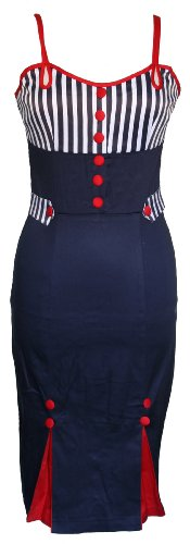 Voodoo Vixen Blue 50s Pencil Wiggle Nautical Dress