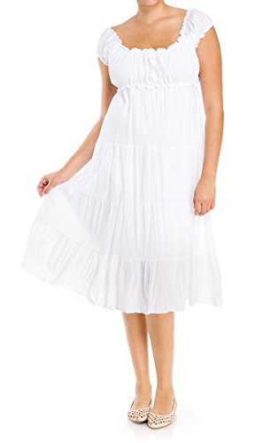eVogues Plus Size White Cotton Empire Waist SunDress - 2X