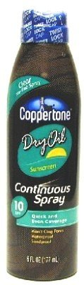 Coppertone Continuous Spray Dry Oil SPF#10 177 ml (Case of 6)