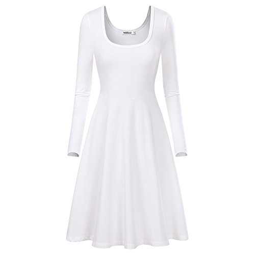 MsBasic Women Simple Designed Long Sleeve Round Neck Casual Flared Midi Dress (Medium, White)