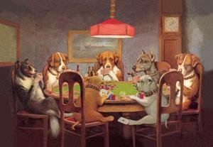 Framed Black poster printed on 20 x 30 stock. Passing the Ace Under the Table (Dog Poker)