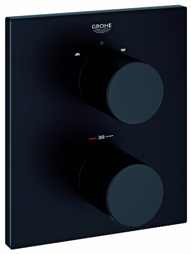 Grohtherm 3000 C Thermostat mit integrierter 2-Wege-Umstellung für Wanne oder Dusche mit mehr als einer Brause, velvet schwarz 19567KS0