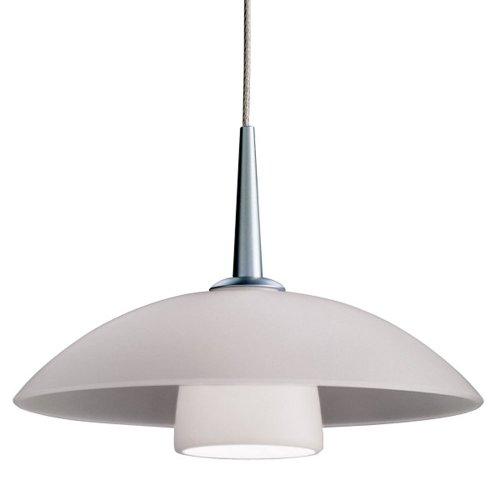 "Jas 1 Light Down Light Pendant Finish: Matte Chrome, Canopy/Bulb Type: 4"" Kiss Canopy/Led, Glass Color: White Matte"