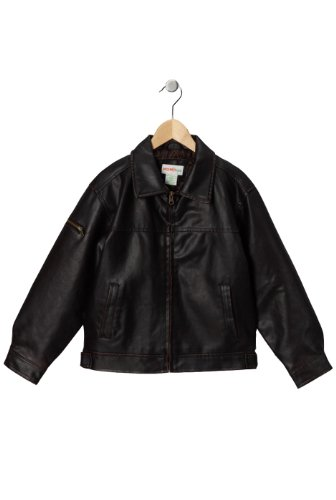 Momo Kids Faux Leather Flight Bomber Jacket -
