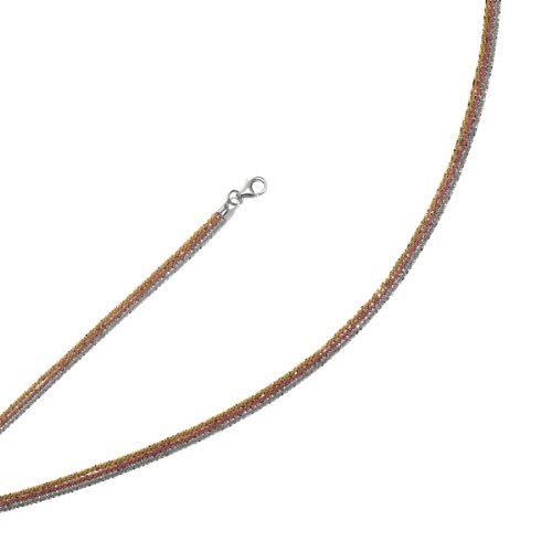 Sterling Silver Color Plated Necklace - 18 Inch Multi Strand - JewelryWeb