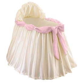 Swag Bassinet Liner/Skirt and Hood with Pink Sash-Size: 17x31