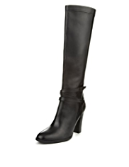 Autograph Leather Buckle & Strap Knee Boots with Insolia® & Stretch Zip