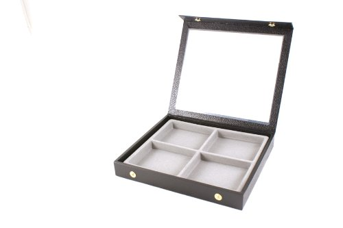 Display Case Snap Close Acrylic Lid + Grey 4 Compartment Insert
