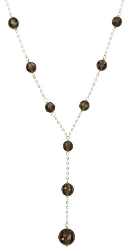 Sterling Silver Faceted Smoky Quartz Tin Cup Y-Shape Necklace, 18