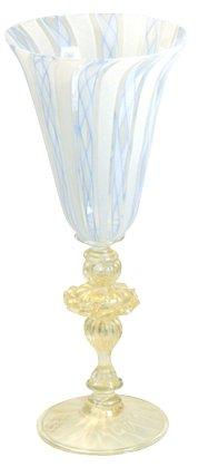 装飾ベネチアングラス アベンチュリ レース水色