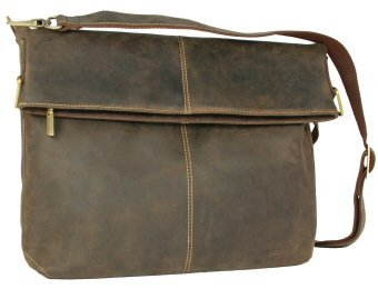 Visconti Leather Messenger Bag 18762 Mud