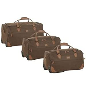 Kangol 3 Piece Wheeled Holdall Set Chocolate -