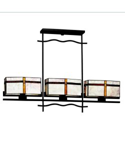 B001OF7U9Y 65308 Tacoma 3LT Linear Pendant, Olde Bronze Finish and Art Glass Shades