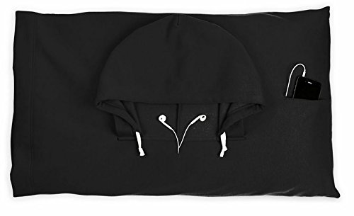 Novelty - Hoodie Pillow - Hooded Pillow Case - Black - Thuhoopillblk