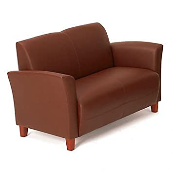 Faux Leather Flare Arm Reception Loveseat (Wine Eco Faux Leather/Cherry Legs)