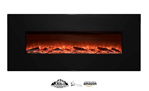 "Garibaldi Heating 72"" XL Electric Wall Mounted Fireplace w/ Remote - Natural Log Flame Effect & Multiple Heat Settings, Black - USA Seller"