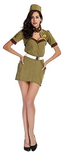 AvaCostume Women's Sexy Sailor Costume Female Colonel Cosplay Fun Suit