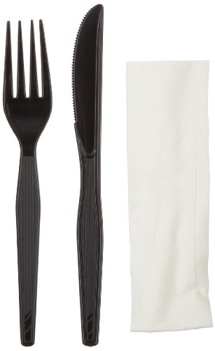 Dixie Ch54Nc7 Heavy Weight Polystyrene Wrapped Fork, Knife And Napkin Cutlery Kit, Black (Case Of 500)