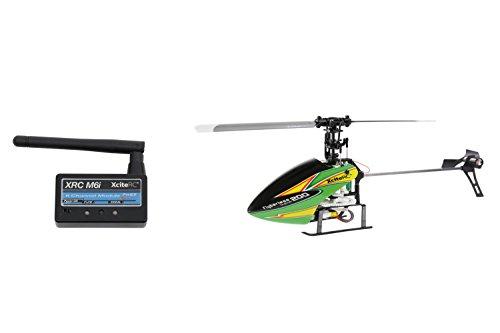 13002120 Ferngesteuerter RC Hubschrauber Flybarless 200 Trainer RTF 2.4 GHz 4 mit M6i 6 Kanal Sendermodul FHSS gelb grün