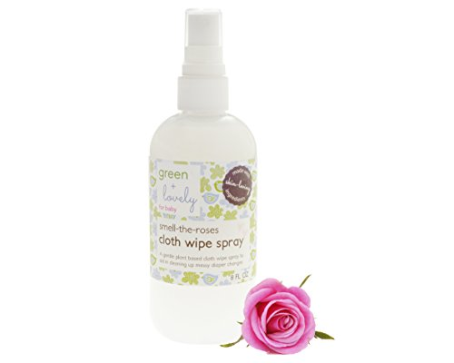 Smell the Roses Cloth Wipe Spray, Bottom Spray. Organic Ingredients. 9 Fl Oz. Green + Lovely