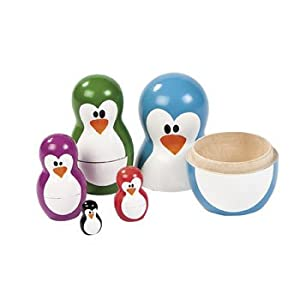 "5 Pc Bright NESTING PENGUINS/Dolls/Christmas/HOLIDAY DECOR/Wooden/5"" TOY"