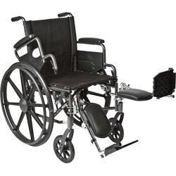 Roscoe Medical K42016Dhfbel K4-Lite Wheelchair Flip Back, Desk-Length Arms And Elevating Legrests Powder-Coated Silver Vein Steel