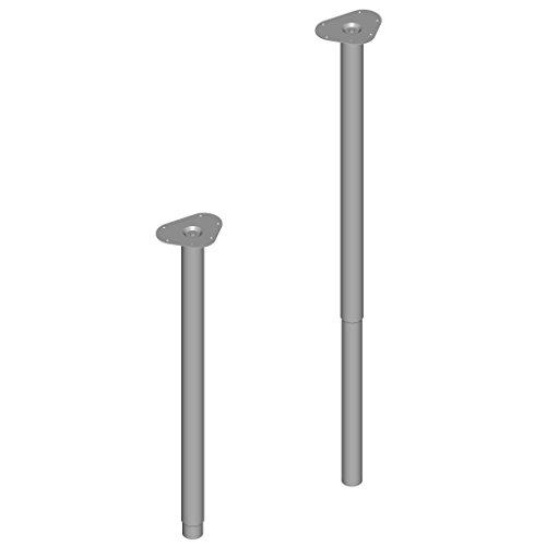 4 Stück Tischbeine höhenverstellbar / Teleskopfuß verstellbar / Tischbein verstellbar / L 80 - 120 cm / Ø 50 mm / weißaluminium / 3 Farben