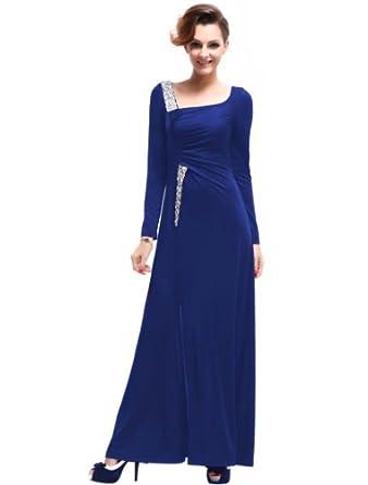 HE09738SB08, Sapphire Blue, 6US, Ever Pretty Long Sleeve Rhinestones Sequins Slitted Evening Dress 09738