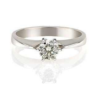 14K Gold / White 0.25ct Certified Diamond Engagement Ring Round Cut F Color SI Clarity