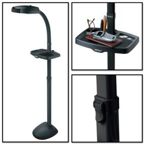 Three views of EasyFlex Floor Lamp showing tray feature and height adjustment lever clip.