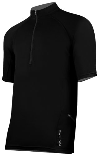 Pactimo Men's Carbondale Short Sleeve Cycling Jersey,Black,X-Large