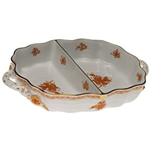 Herend Chinese Bouquet Rust Two Section Hors Doeuvre Dish