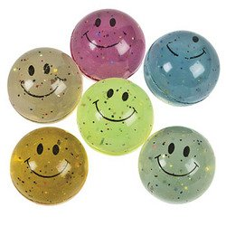 Hi-Bounce Glitter Smiley Face Balls (1 dz) [Toy] [Toy]