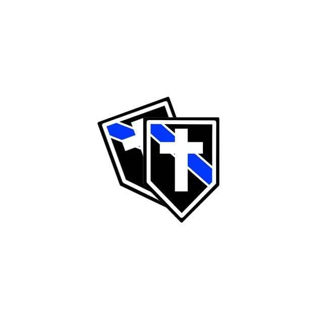 Police Chaplain Blue Line Decal with a Cross (Sticker)   4 Decals
