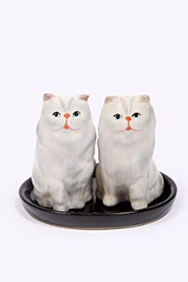 Persian Cat Salt & Pepper Pots Shakers Set with Tray
