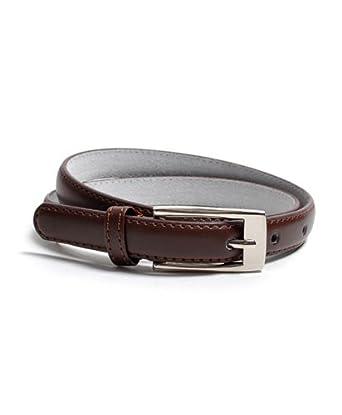 "Solid Color Leather Adjustable Skinny Belt, small (27""-31""), Brown"