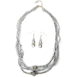 TJC Natural Stainless Steel Jewellery Set With White Glass Stone