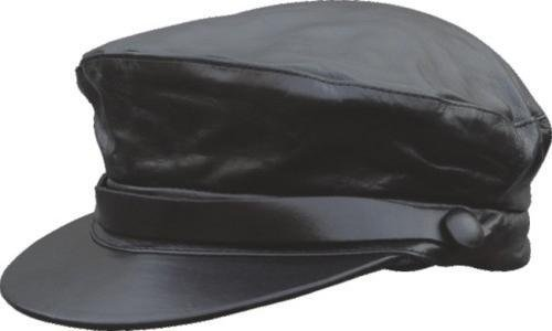 Genuine Solid Leather Black Leather Flat Cap Driving Rider's Hat