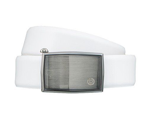bugatti Gürtel Herrengürtel Ledergürtel Automatikschließe Weiß 4259, Länge:100 cm;Farbe:Weiß