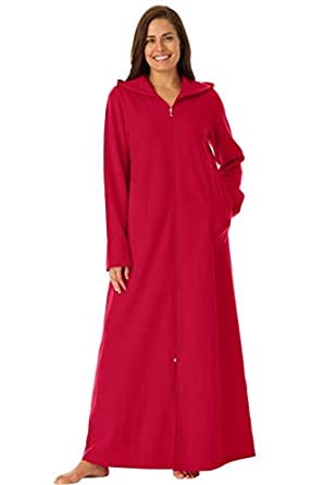 Dreams And Company Women's Plus Size Long Ultra-Soft Fleece Hoodie Robe