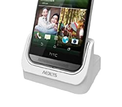 AEDILYS® Micro USB Dock Cradle Charger For HTC New One M7 (White)