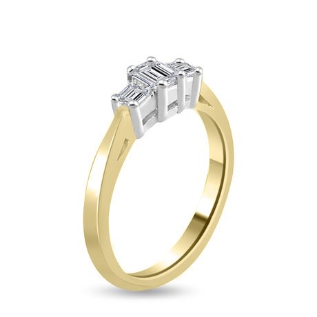 0.60 carat 3 Diamond Trilogy Promise Ring for Women. H/SI1 Emerald Cut Diamond in 18ct Yellow & White Gold