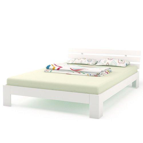 Doppelbett Holz 140x200 cm Massivholz Bett Bettgestell inkl. Lattenrost (Weiss, 140x200)