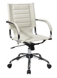 Ave Six Trinidad Office Chair With Fixed Padded Arms and Chrome Finish in Cream