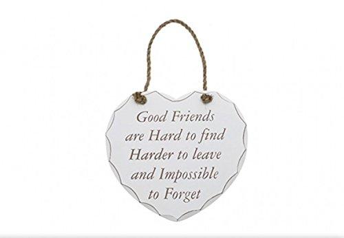 """Lesser & Pavey Piastra da appendere a forma di cuore, stile shabby-chic, scritta """"Good friends are hard to find"""" [lingua inglese]"""
