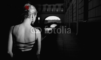 Wallmonkeys Peel and Stick Wall Decals - Black and White Picture of a Girl in Old City - 36